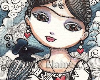 "Little Frida Valentine ACEO print Frida Kahlo raven sun heart 2.5""x3.5"" ElaineCoxArt"