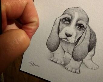 Basset Hound Puppy Dog. Original Artwork. Raul Guerra