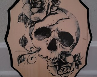 Skull and roses wood plaque
