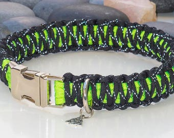 Reflective Black and Green Paracord Dog Collar - Free Engraving