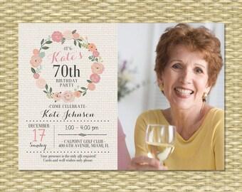 70th Birthday Invitation Adult Birthday Invite Milestone Birthday Floral Birthday Floral Invitation Rustic Birthday Burlap and Flowers