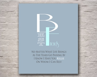 Friends Print - Best Friends - Friendship Gift - Birthday Gift - Gift for Workfriend - Thank You For Being a Friend - Any Color Available
