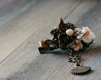 Bronze Shell Blossom Pearl Hairpin