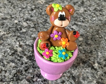 Polymer Clay Spring Bear with Flowers