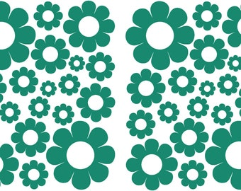 38 Teal Daisy Vinyl Shaped Bedroom Wall Decals Stickers Daisies Turquoise Kids Baby Nursery Dorm Room Removable Custom Made Easy to Install