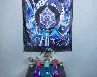 LIGHT WIZARD - Wall Hanging - Organic Mechanics - Tapestry - Banner - Visionary Art - Photograph - Sublimation -Print - Spiritual - Psy Art