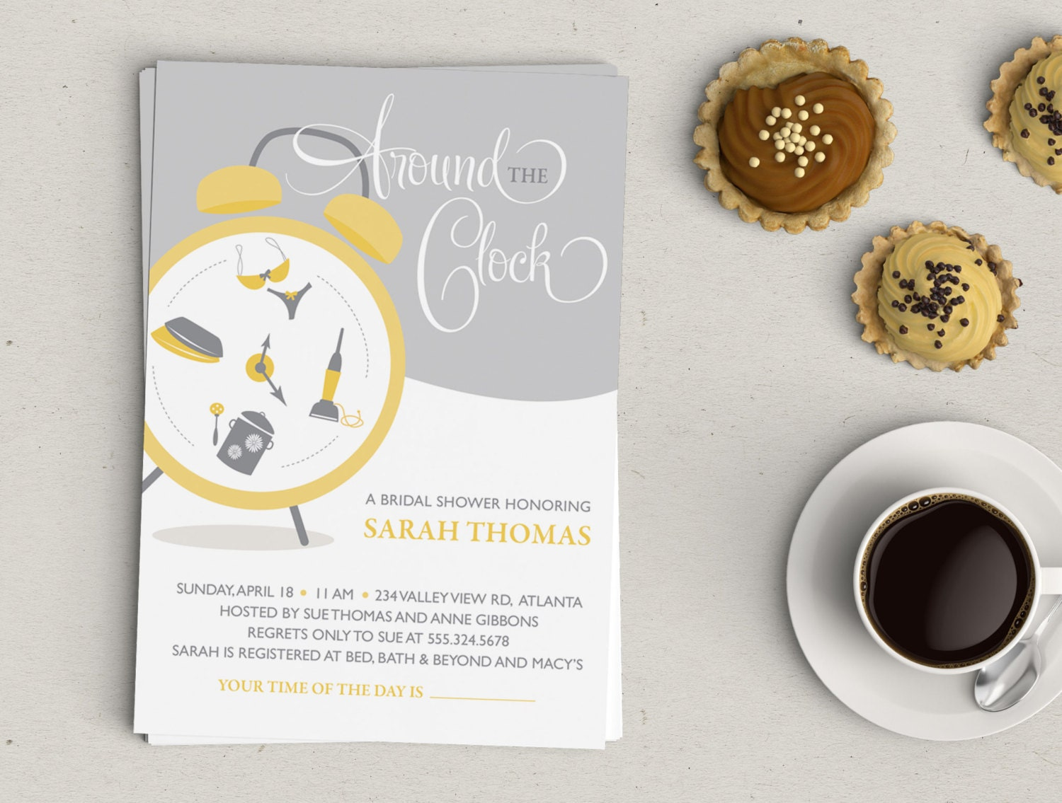 around the clock wedding shower invitation - Picture Ideas References