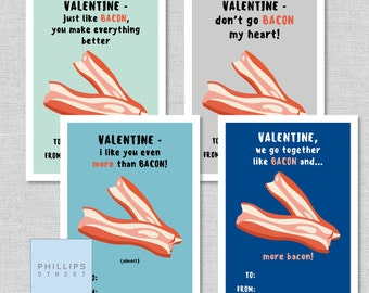 printable BACON Valentine's Day cards . kids classroom valentines . funny valentine . instant download . DIY