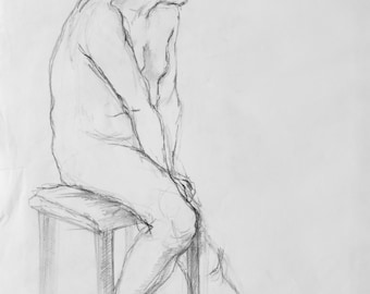 Original Life Drawing 5, Pencil, Nude Sketch, Dessin, Man, Art, Simple, Croquis, Hand made, Kunst, Modern, large, standing position, Body
