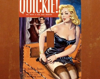 Quickie -- Vintage Pulp Book Cover Pinup Light Switch Cover -- Oversized (Multiple Styles)
