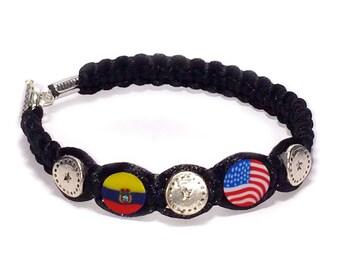 Ecuador & United States Flags 2 mm Satin Cord bracelet Proud Collection, Bracelets Ecuadorian, Patriotic,
