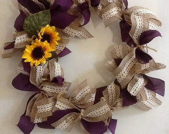 Purple and Burlap Wreath with Sunflowers
