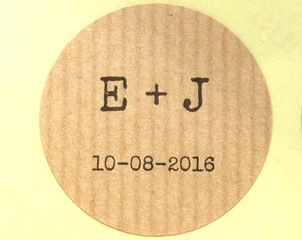 Ribbed rustic recycled kraft paper custom personalised stickers weddings confetti bag sticker 4cm envelope seals typewriter font