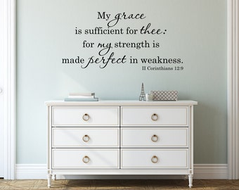 Bible Verse Vinyl Wall Decal My grace is sufficient for thee Vinyl Lettering Wall Words Religious Decor Scripture Decal