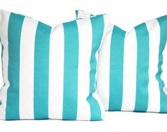 Two Turquoise pillow covers, Blue striped Pillow, decorative throw pillow, accent pillow, pillow case, DIFFERENT SIZES AVAILABLE