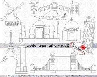 World Landmarks Line Art (Set 01) Digital Clip Art Set: Empire State Eiffel Tower London Bridge Taj Mahal Leaning Pisa Windmill Travel