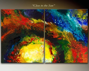 "Abstract art, canvas Giclee Print from my Original Abstract Fluid Diptych Painting ""Close to the Sun"", 20x32, large wall art"