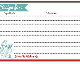 Retro Style Recipe Cards Set of 20