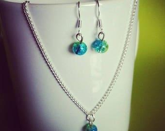 Parure argentée perles verre craquelé vert et turquoise