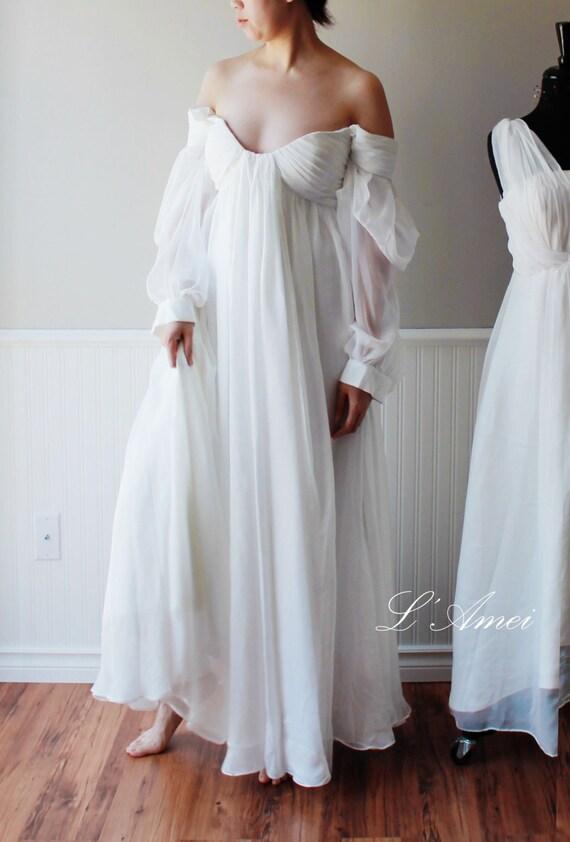 Custom Made Ancient Greece off shoulder long sleeves Wedding