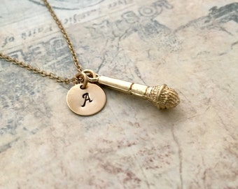 Microphone Necklace, Music Necklace, Initial Necklace, Hand stamped Necklace, Best friend Gift, Handmade Jewelry