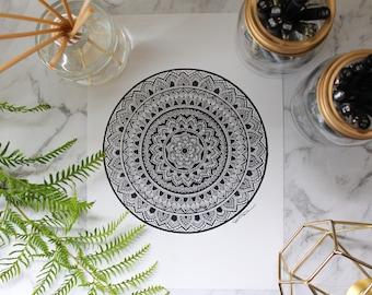 Mandala Art Print A4 and A3 - Wall art- Home decor