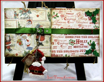 Premade Christmas Vintage Style Chunky Fold Scrapbook ~ Just add photos and journaling! Over 100 mats & journaling spots and lots of pockets
