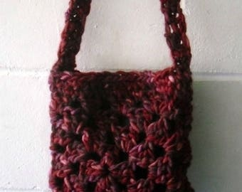 Crochet Bag, Small Multi Red and Purple Shoulder bag