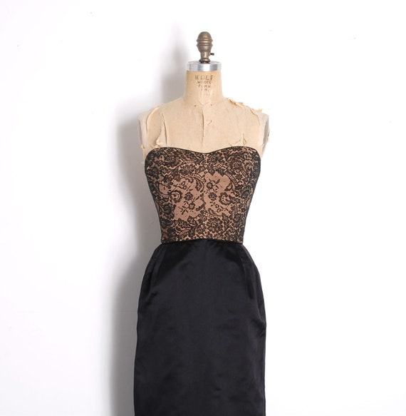 480a269a4732 Vintage 1950s Dress / 50s Illusion Lace Strapless Wiggle Dress