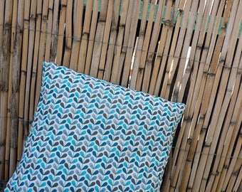 Cushion and cover - turquoise and white print
