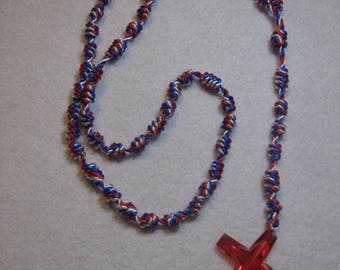 Red, White & Blue Knotted Rosary with Red Cross