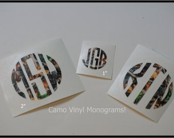 2 inch CAMO Camouflage Vinyl MONOGRAM.......You Choose Style of Monogram.....So Unique and Cute..Preppy....Hunting....Fishing...Gun