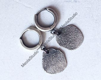 MeolaStudio raw, organic,natural, oxidized sterling silver 925 earrings.