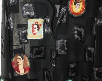 Frida Kahlo-blouse-shirt-tunic black Gothic Frida Kahlo style unique Frida Kahlo art