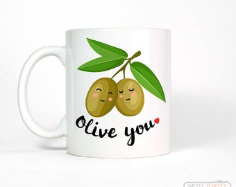 Funny Food Gift for Him or Her | Anniversary Gifts for Men | Olive You Love Coffee Mug | Anniversary Gift for Boyfriend Gift
