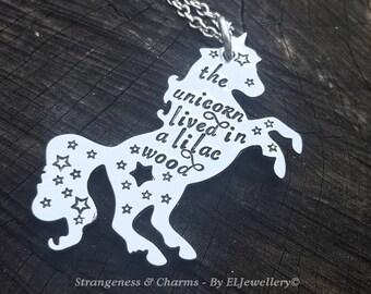 Hand Stamped 'The Last Unicorn' Aluminium Unicorn Necklace, Unicorn Jewellery, Unicorns, Magic, Lilac Wood, Last Unicorn, Quote Jewelry.