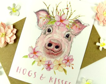 Funny pig card pig greeting card funny pig art pig pig greeting card cute funny pig art card bookmarktalkfo Image collections
