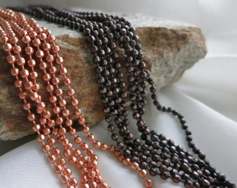 COPPER FACETED Ball Chain, 3.2mm Bright Copper or Hand Oxidized, Connectors included, 2 ft to 20 ft Bulk Chain, Rustic Boho Steampunk Chain