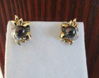 Black Pearl Earrings Diamond 14K Yellow Gold Stud Luxury Estate Fine Jewelry