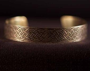 Celtic Art Cuff Etched in Brass, Variation of Dirk Handle twist, Handmade in Ireland.