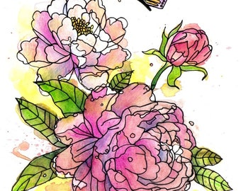 Peonies watercolor / Original Artwork