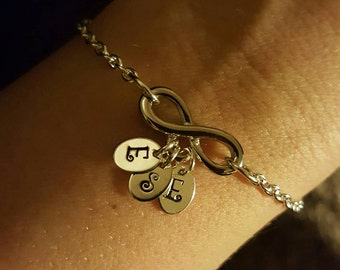 Infinity charm bracelet with hand stamped initials personalized gift mom bracelet or necklace