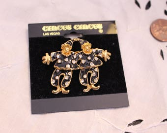 Vintage Clown Pin Black Enamel and Gold Tone with Crystals Articulated body Legs Move