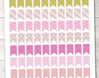 Instant Download Printable Planner Stickers PDF Pink & Gold Patterned Flags for Calenders Planners Home Polka Dots Chevron