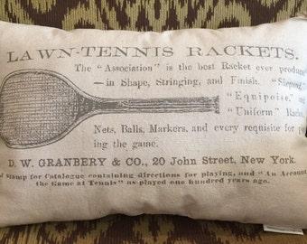 Canvas Decorative Pillow With Vintage Tennis Racquet Image