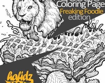 Lion + Lasagna ; Doodle Coloring Page