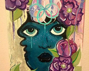 Indigo  - original mixed media painting