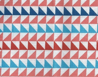 Cotton fabric like Japanese fabric with red and blue triangles - 58x50 cm