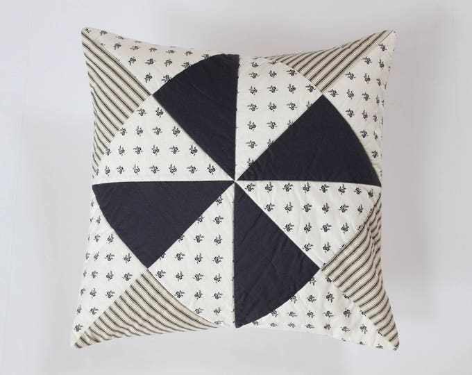 Black White Quilted Ticking Stripe Pinwheel Pillow Cover