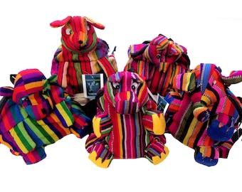 Vivid, Bright, Guatemala Traditional Tribal Textile Animal  Festival Travel Bag Mini Backpack M33